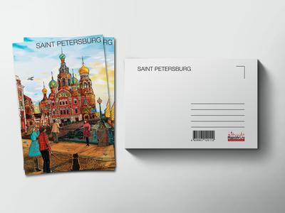 Почтовая открытка «храм Спас на Крови» из серии Романтический Петербург