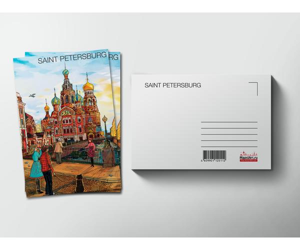 Почтовая открытка «Храм Спас на Крови» из коллекции Романтический Петербург