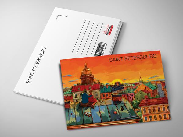 Почтовая открытка «Крыши Петербурга, вид на Исаакиевский собор на закате»