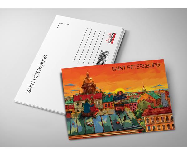 Почтовая открытка «Крыши Петербурга, вид на Исаакиевский собор» из коллекции Романтический Петербург