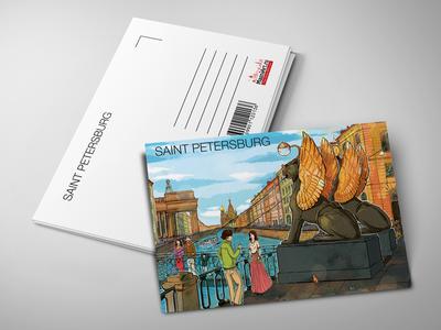 Почтовая открытка «Банковский мост, вид на Казанский собор и Дом Зингера»