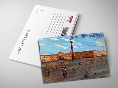 Почтовая открытка «Александрийская колонна, Эрмитаж и Дворцовая площадь»