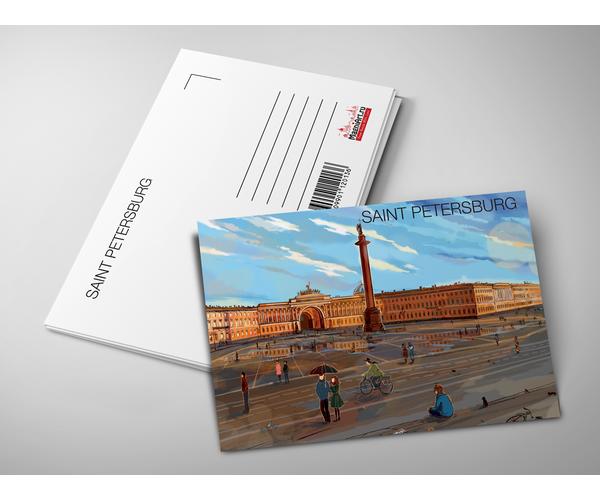 Почтовая открытка «Александрийская колонна, Эрмитаж и Дворцовая площадь» из коллекции Романтический Петербург