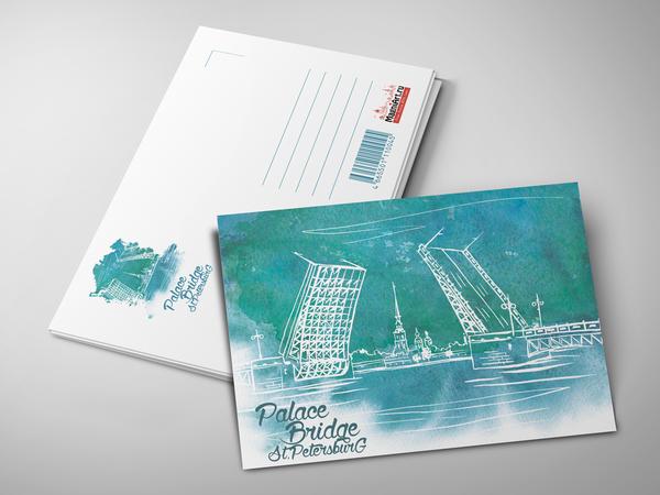 Почтовая открытка «Дворцовый мост. Вид на Петропавловскую крепость»
