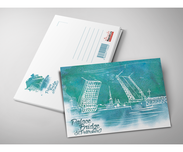 Почтовая открытка из коллекции Акварель «Дворцовый мост. Вид на Петропавловскую крепость»