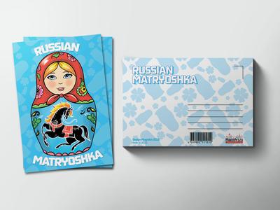 Почтовая открытка «Матрешка голубая»