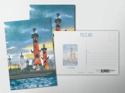 Почтовая открытка «Ростральные колонны», акварель