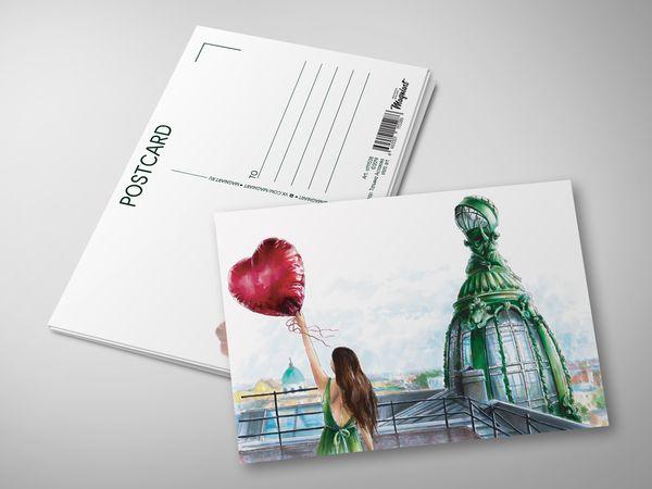 Почтовая открытка «На крыше Дома книги»