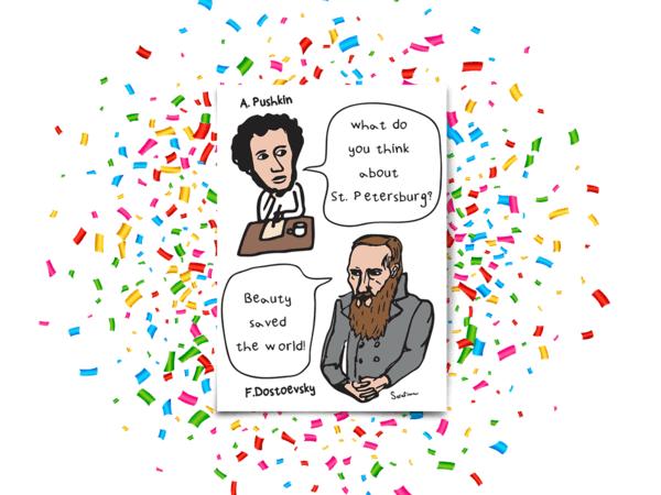 Почтовая открытка «Pushkin and Dostoevsky»