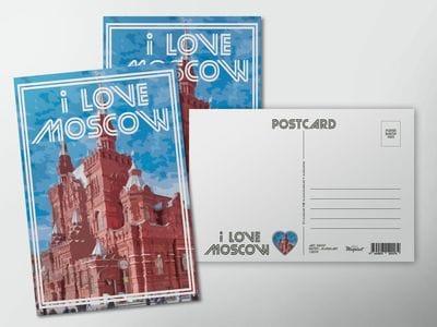 """Почтовая открытка I love Moscow """"Исторический музей"""""""