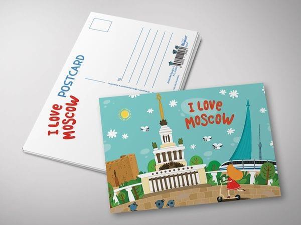 "Почтовая открытка ""I love Moscow"" - Панорама с ВДНХ"