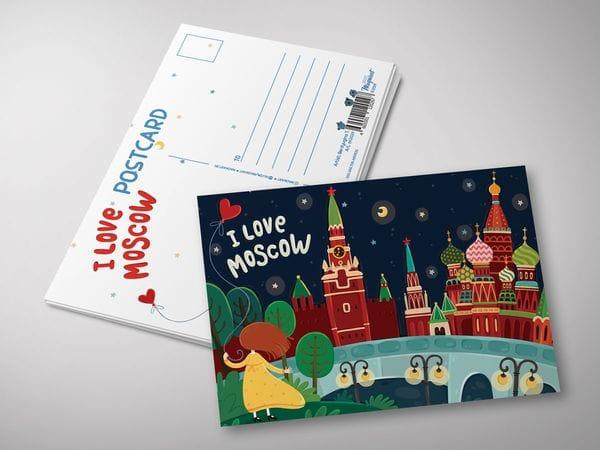 """Почтовая открытка """"I love Moscow"""" - Панорама с Зарядье"""