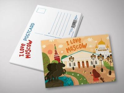 """Почтовая открытка """"I love Moscow"""" - селфи в Александровском парке"""