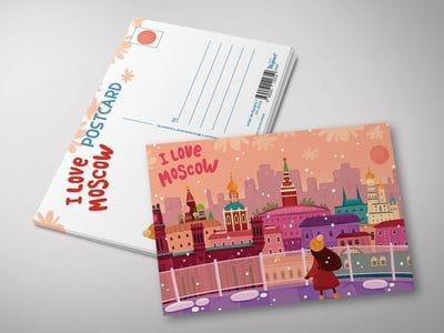 """Почтовая открытка """"I love Moscow"""" - панорама с крыши Детского мира"""