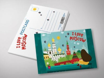 """Почтовая открытка """"I love Moscow"""""""