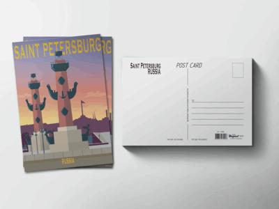 Почтовая открытка «Ростральные колонны»