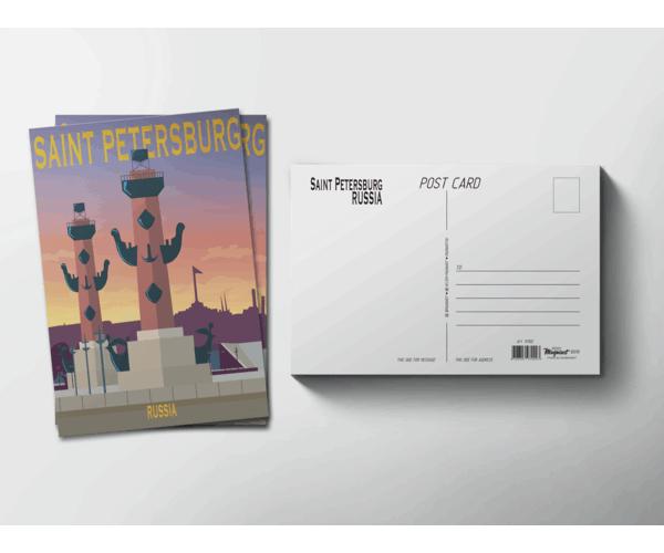 Почтовая открытка «Ростральные колонны» для посткроссинга