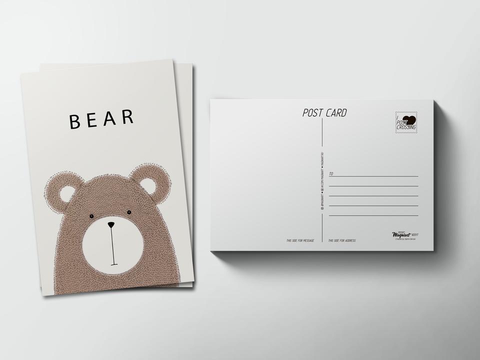 Почтовая открытка «Медведь» для посткроссинга