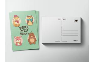 Почтовая открытка «Лесные животные»
