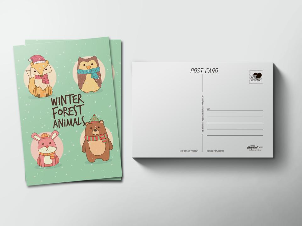 Почтовая открытка «Лесные животные» для посткроссинга