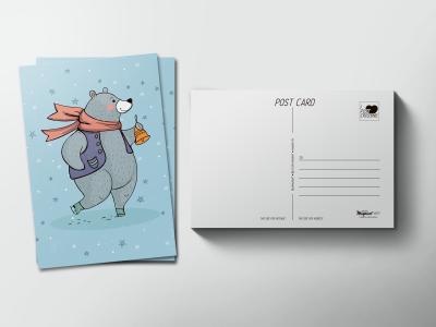 Почтовая открытка «Медведь в шарфе»