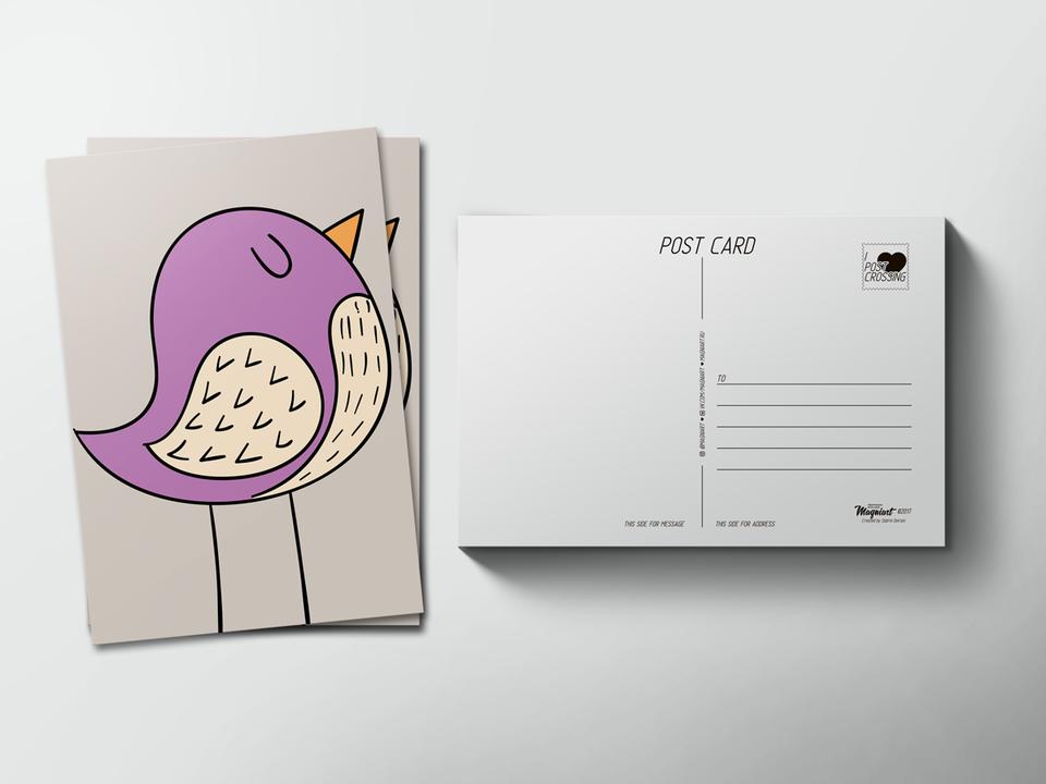 Почтовая открытка «Птичка» для посткроссинга