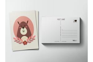 Почтовая открытка «Ушастый медведь»