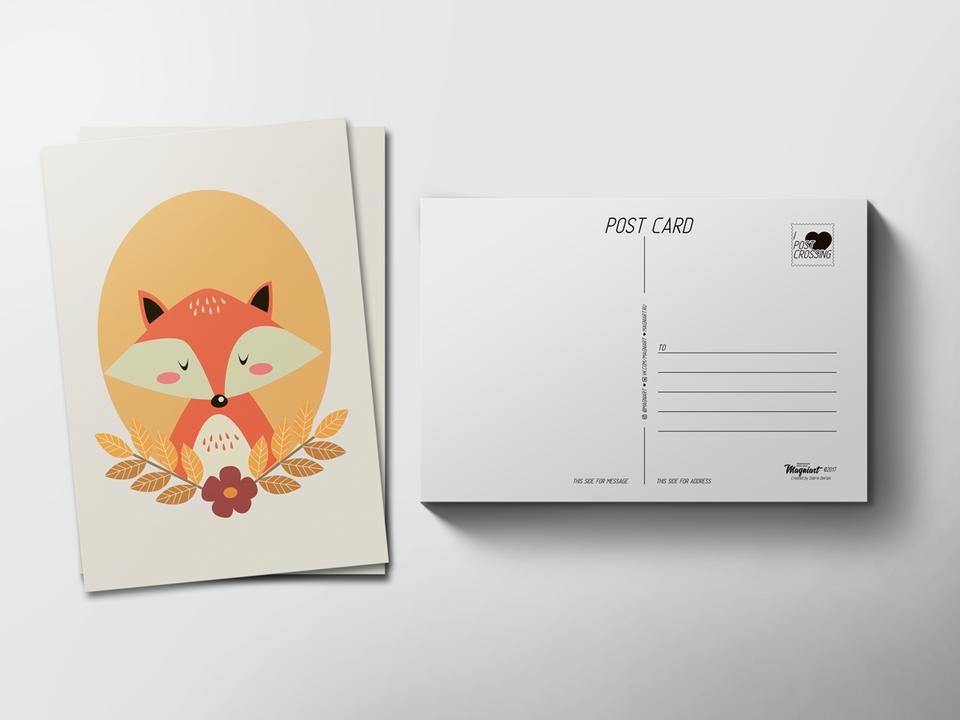 Почтовая открытка «Лисица» для посткроссинга