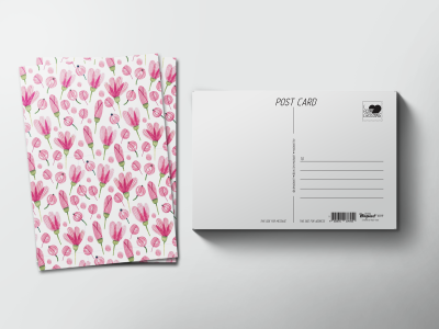 Почтовая открытка «паттерн розовые полевые цветы»