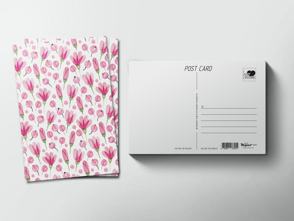 Почтовая открытка из коллекции для посткроссинга «паттерн розовые полевые цветы»