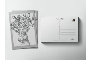 Почтовая открытка «Олень с птицами»