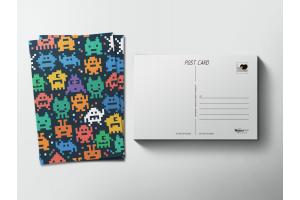 Почтовая открытка «Пиксели роботы»