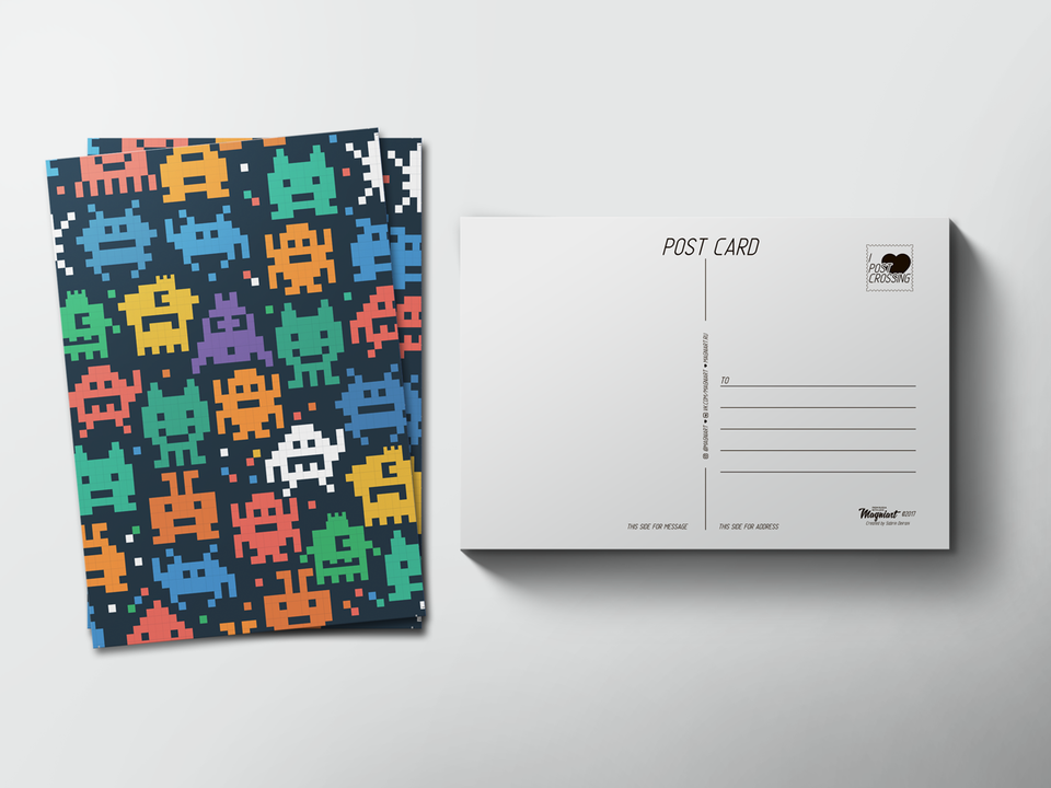 Почтовая открытка «Пиксели роботы» для посткроссинга