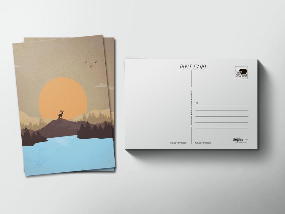 Почтовая открытка «Олень на закате» для посткроссинга