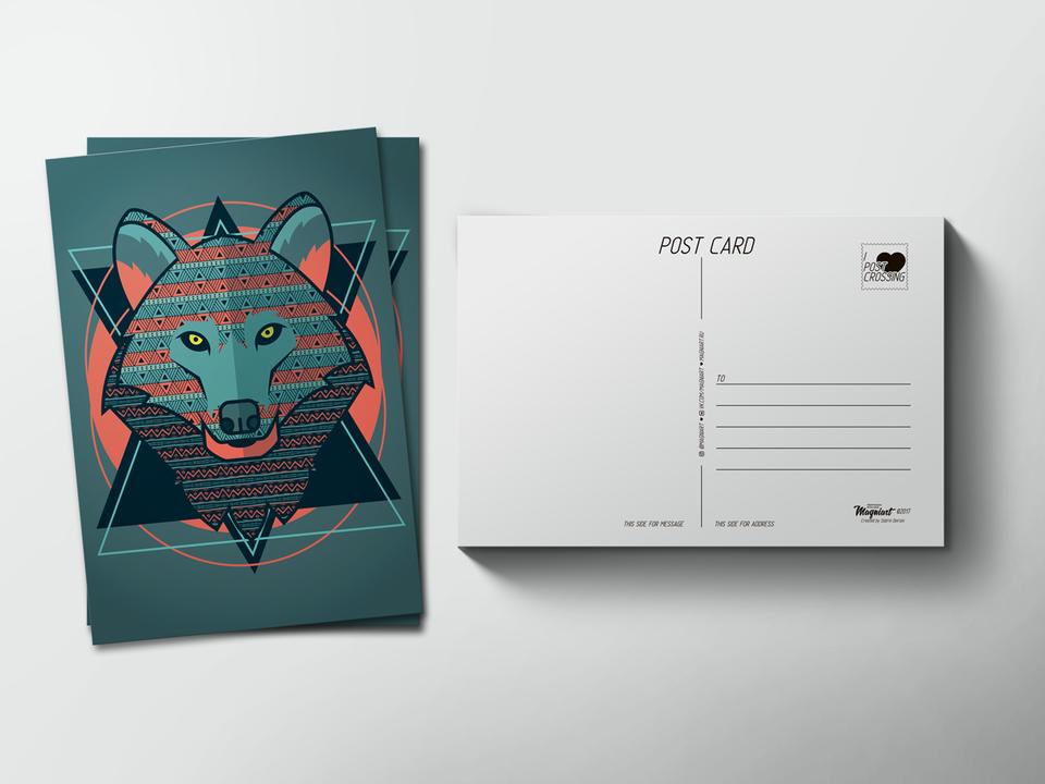 Почтовая открытка «Волк орнамент» для посткроссинга