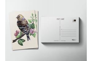 Почтовая открытка «Птица на ветке»