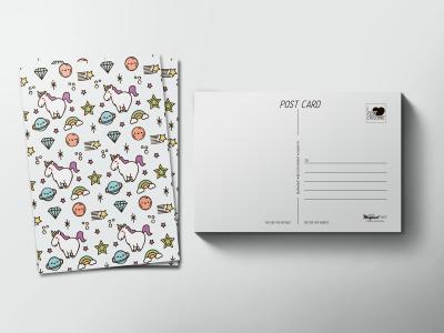 Почтовая открытка «Паттерн единорог»