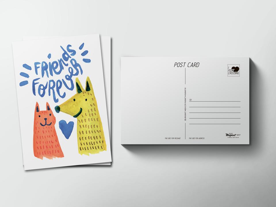 Почтовая открытка «Friends forever» для посткроссинга