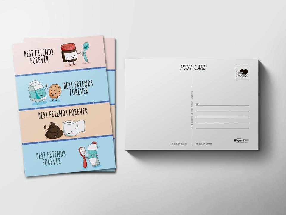 Почтовая открытка «Best friends forever» для посткроссинга