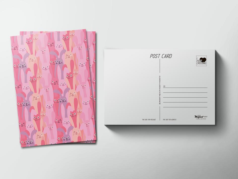 Почтовая открытка «Паттерн Зайцы» для посткроссинга