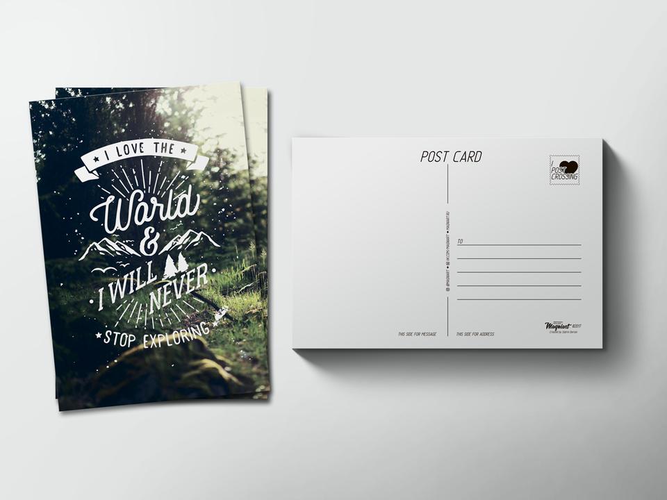 Почтовая открытка «Слоган» для посткроссинга