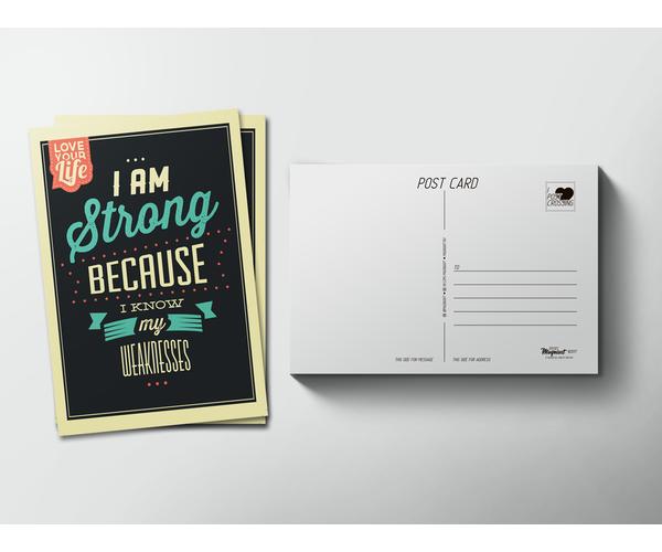 Почтовая открытка «I am Strong» для посткроссинга