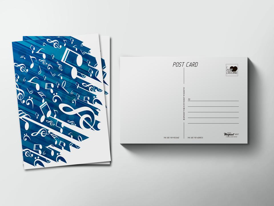 Почтовая открытка «Музыка ноты» для посткроссинга