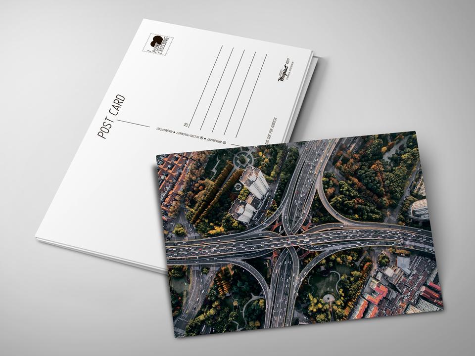 Почтовая открытка «Дорожная развязка» для посткроссинга