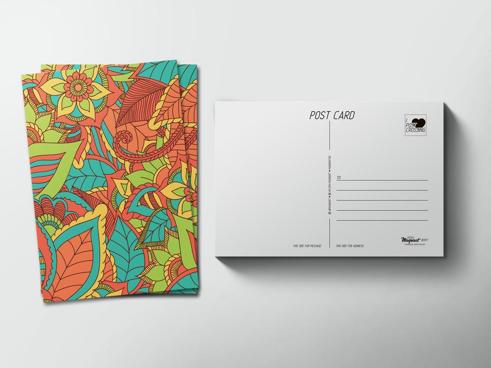 Почтовая открытка «Цветы» для посткроссинга