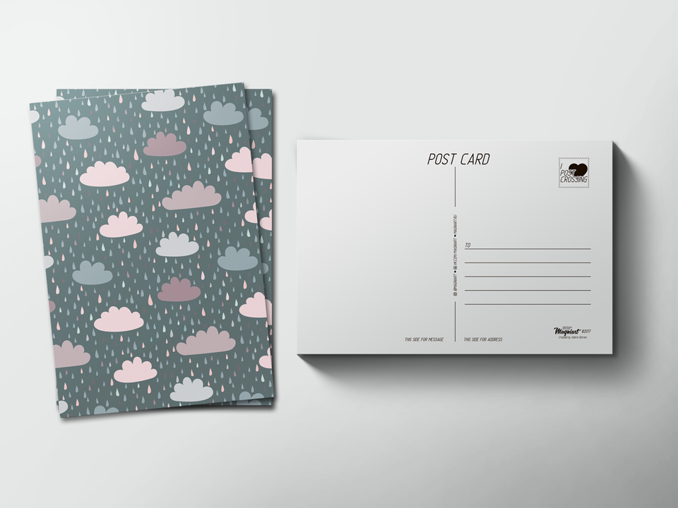 Почтовая открытка «Дождливые тучи» для посткроссинга
