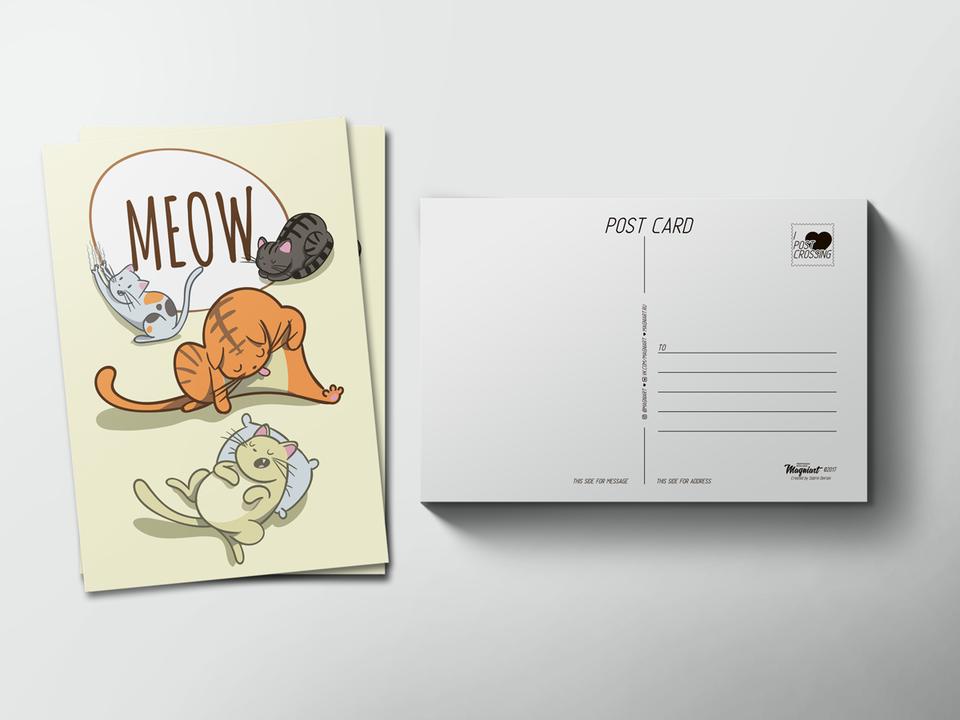 Почтовая открытка «Meow» для посткроссинга
