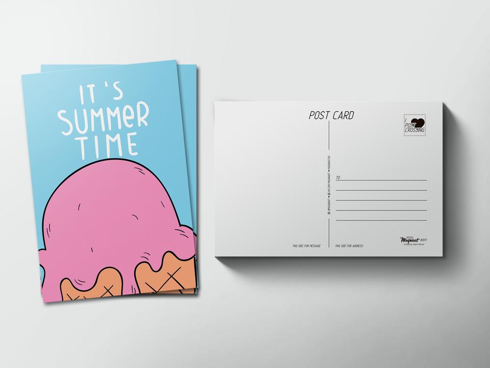 Почтовая открытка «Summer time» для посткроссинга