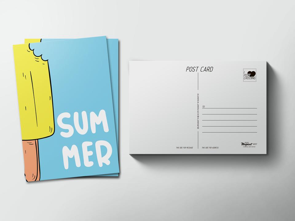 Почтовая открытка «Summer» для посткроссинга
