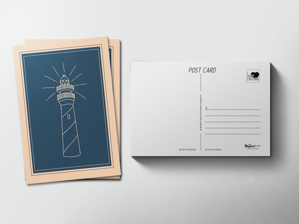 Почтовая открытка «Маяк» для посткроссинга